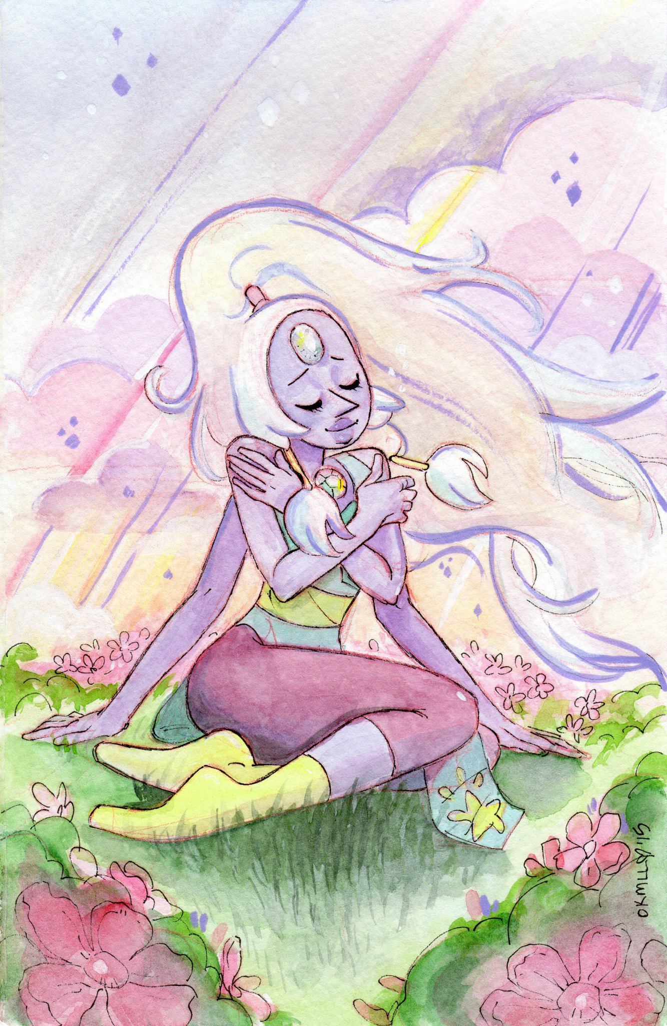 Watercolor and Acrylic Ink painting of #Opal from #StevenUniverse! A little forgetful but that's okay!