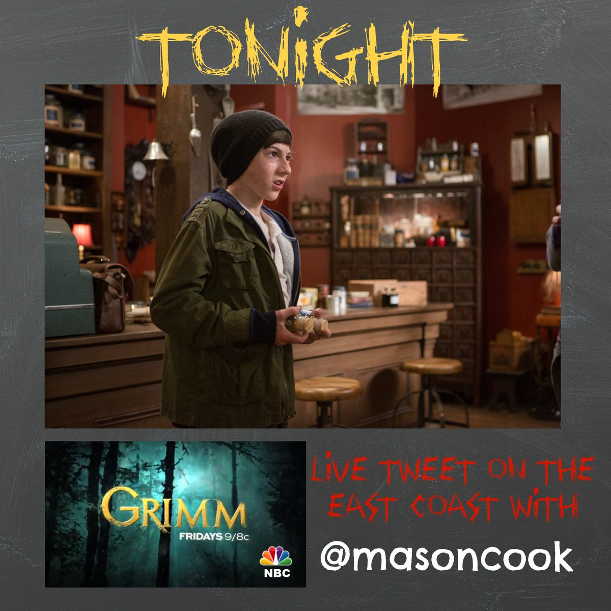 Can't wait to LIVE TWEET during my episode of @NBCGrimm tonight! #Grimm #friday13th https://t.co/mYDgrnnJxJ