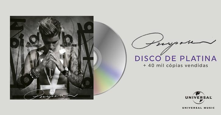 #Purpose já é Disco de Platina no Brasil!