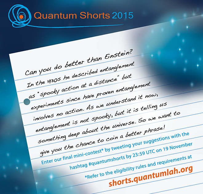 Our final #quantumshorts mini-contest is ready for your entries. Prize this week includes new book by @gmusser! https://t.co/ySHC0LRam2