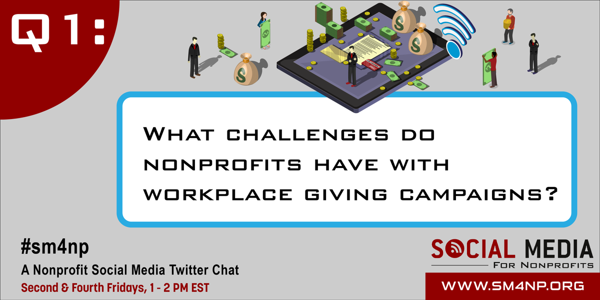 Q1: What challenges do nonprofits have with workplace giving campaigns? #SM4NP #tweetchatshappeningnow https://t.co/TprYeGVUEu