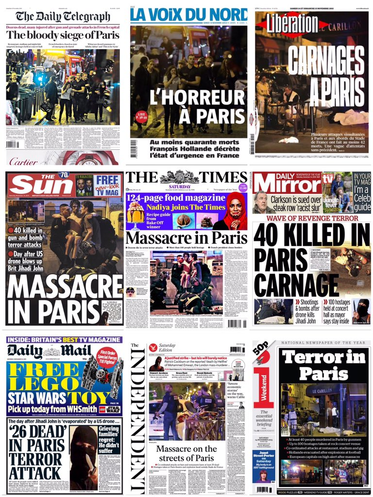Some of the latest front pages from UK and France  #tomorrowspaperstoday #bbcpapers https://t.co/CviID2FHZQ