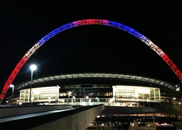 French colours above Wembley Stadium in London