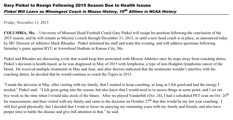 Thumbnail for Gary Pinkel resigns as Missouri football head coach