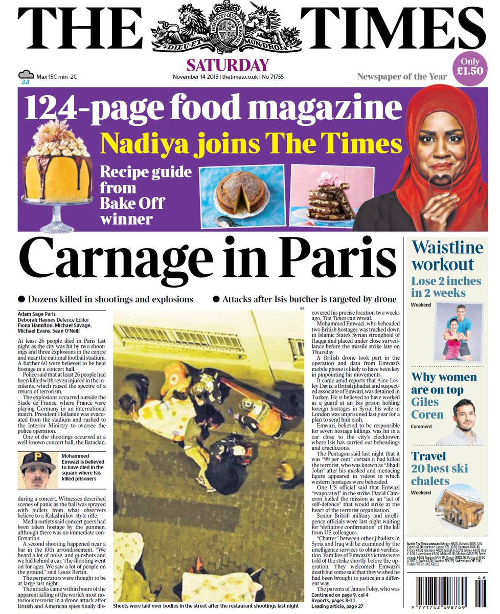 Newspaper front pages capture horror and carnage of Paris terror attacks