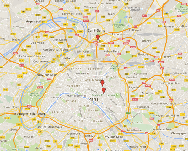 C News on Twitter Map of attacks in Paris from reportedly