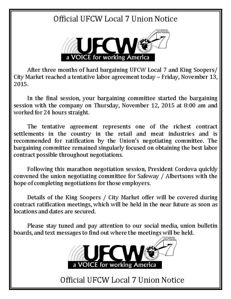 King Soopers/City Market Update Tweet added by UFCW Local 7