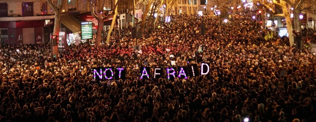 LA PEUR TUE L'ESPRIT !  Libres, debout, ensemble.   TOUS ENSEMBLE !   #RÉSISTANCE  #Liberté #Egalité #Fraternité  https://t.co/ResDogJ5Zs