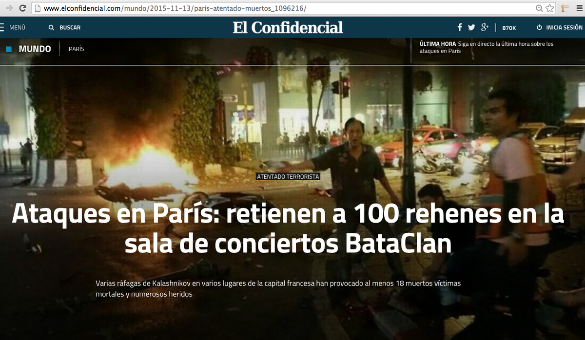 WTF RT @matthewbennett: Spain's El Confidencial using a photo of Bangkok bombing to illustrate Paris attacks https://t.co/MdDZ3fgw7F