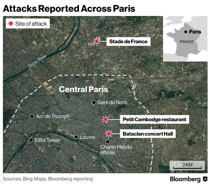 Bataclan Concert Hall Paris Map.Bloomberg On Twitter Here S A Map Of The Reported Attacks Across