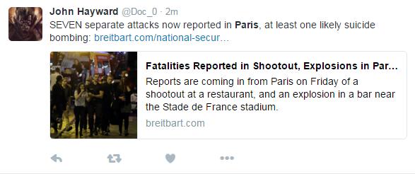 例えばこのツイートでリンクされてるサイト https://t.co/b0ogQMyvh9 はツイッターでよく見るのですが、信頼できません。今回も「パリ市内7ヶ所で攻撃」と盛ってるようです。実際は「4か所」(のうち1つは流言?)2/2 https://t.co/WjF9eilBGY