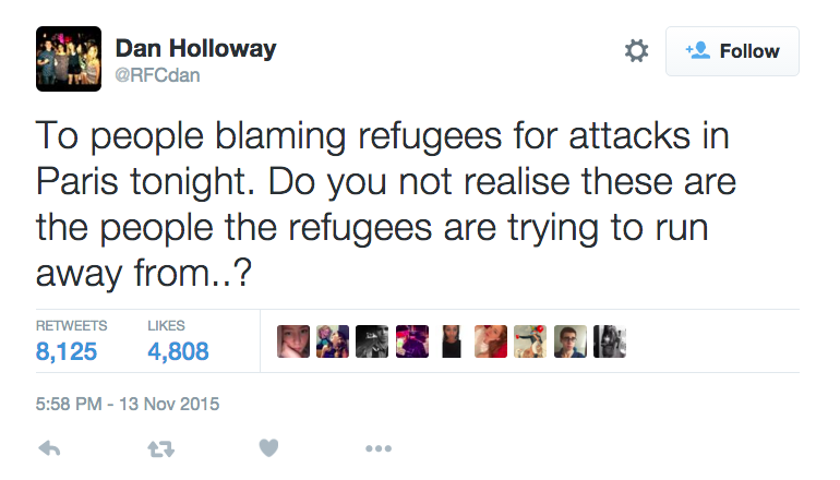 This tweet perfectly captures why it's appalling to blame refugees for the Paris attacks https://t.co/hRvuPiQNdv