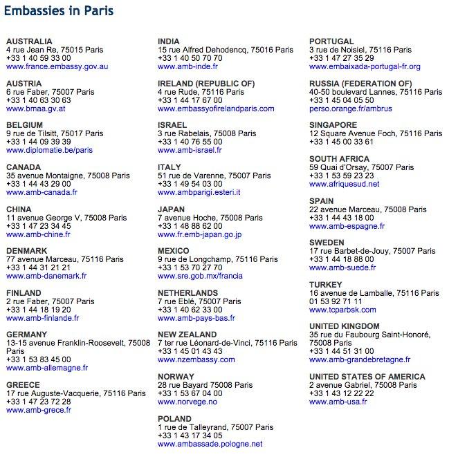 rt@5SOHelping   Phone no. of major embassies in Paris. Please spread it out !  #PorteOuverte #ParisAttacks https://t.co/tVqxzgUcq9