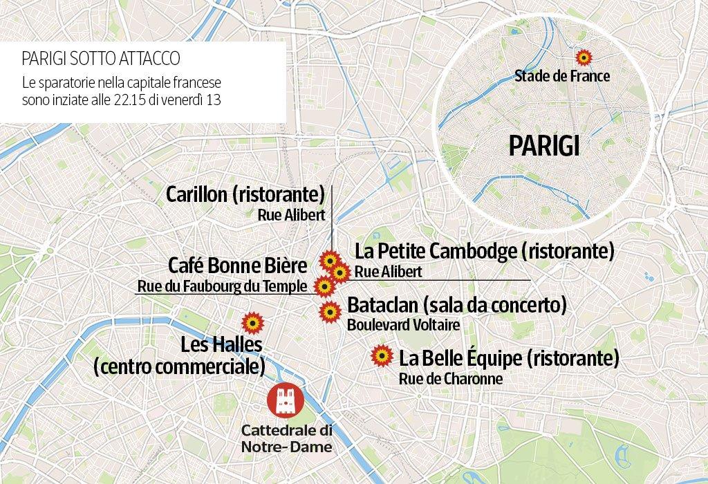 Mappa degli attacchi di Parigi del 13 novembre.