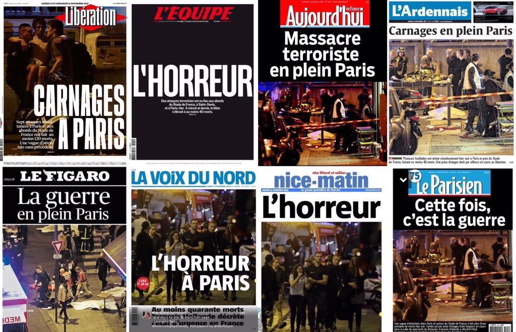 Today's front pages in #France Horror-Carnage-War  That's what #Paris and the world have woken up to. #ParisAttacks https://t.co/kLVisa2iRr