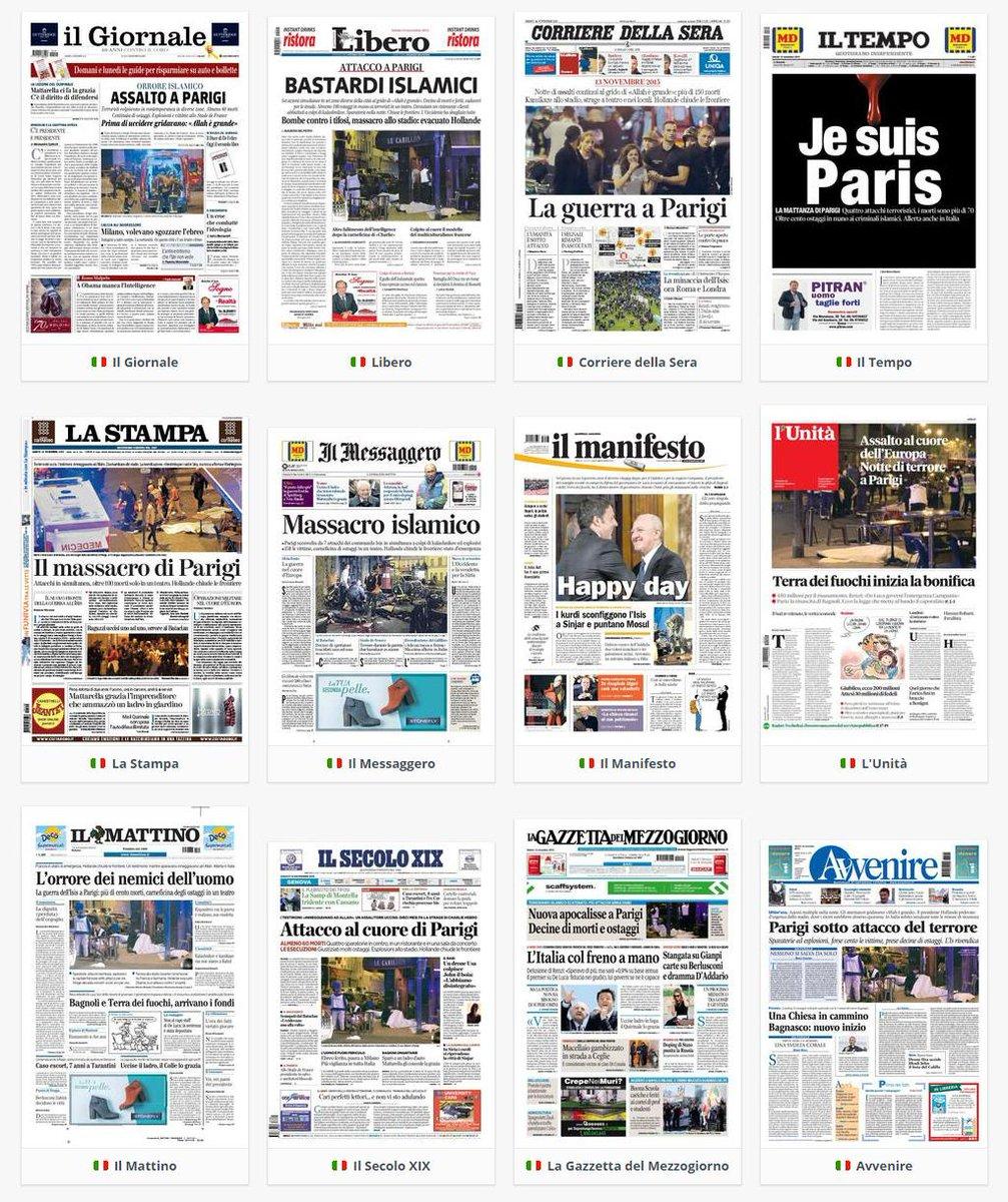 Le prime pagine dei giornali italiani #Parigi https://t.co/GklUJTgZhW