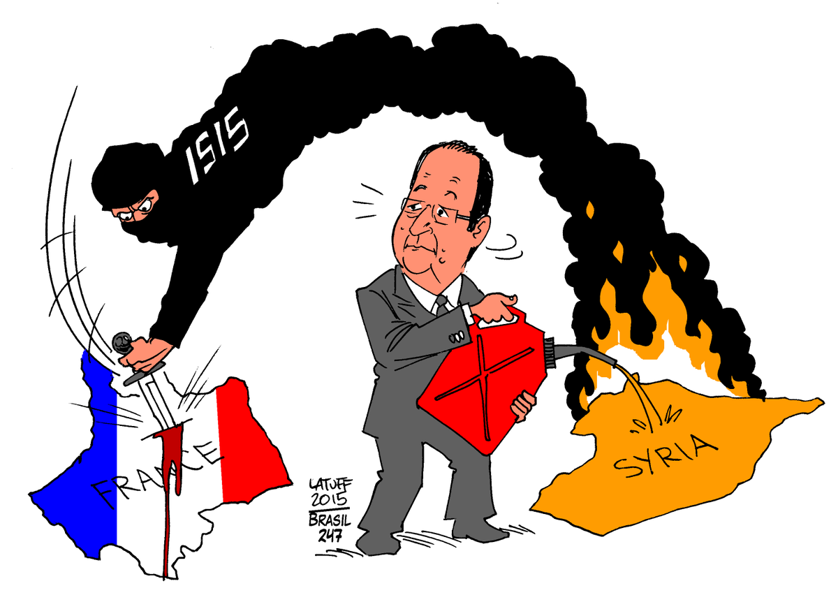 "Carlos Latuff on Twitter: ""Cartoon of the Day: Explosive Foreign Policy of  Hollande (Via @brasil247) #MuslimsAreNotTerrorist https://t.co/9T3xyL86Rd"""