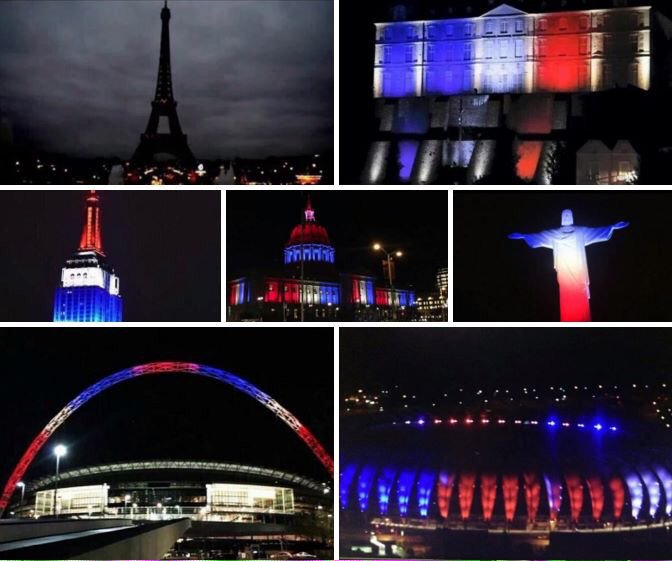 Paris turned out their lights as a sign of mourning, but the rest of the world lit them to show our support. https://t.co/IVMdS7AB4y