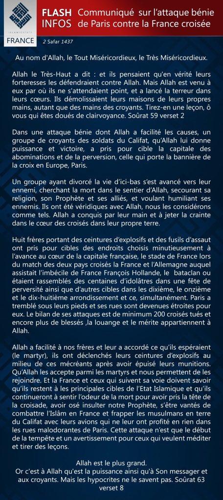 L'Etat islamique #EI revendique officiellement cette deuxième série d'attentats de Paris https://t.co/6D6bj6rO5E