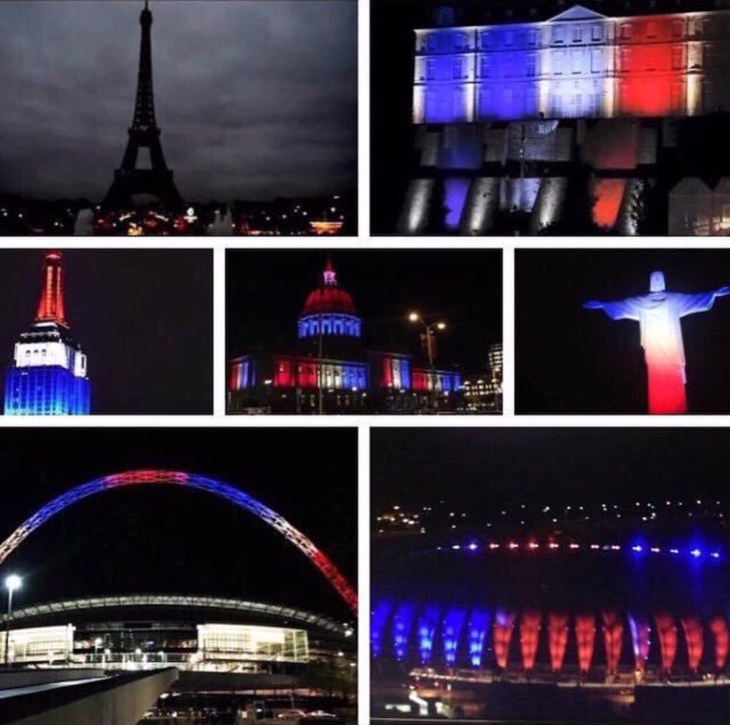 When the City of Lights goes dark, the world beautifully lights up in support #PrayForParis