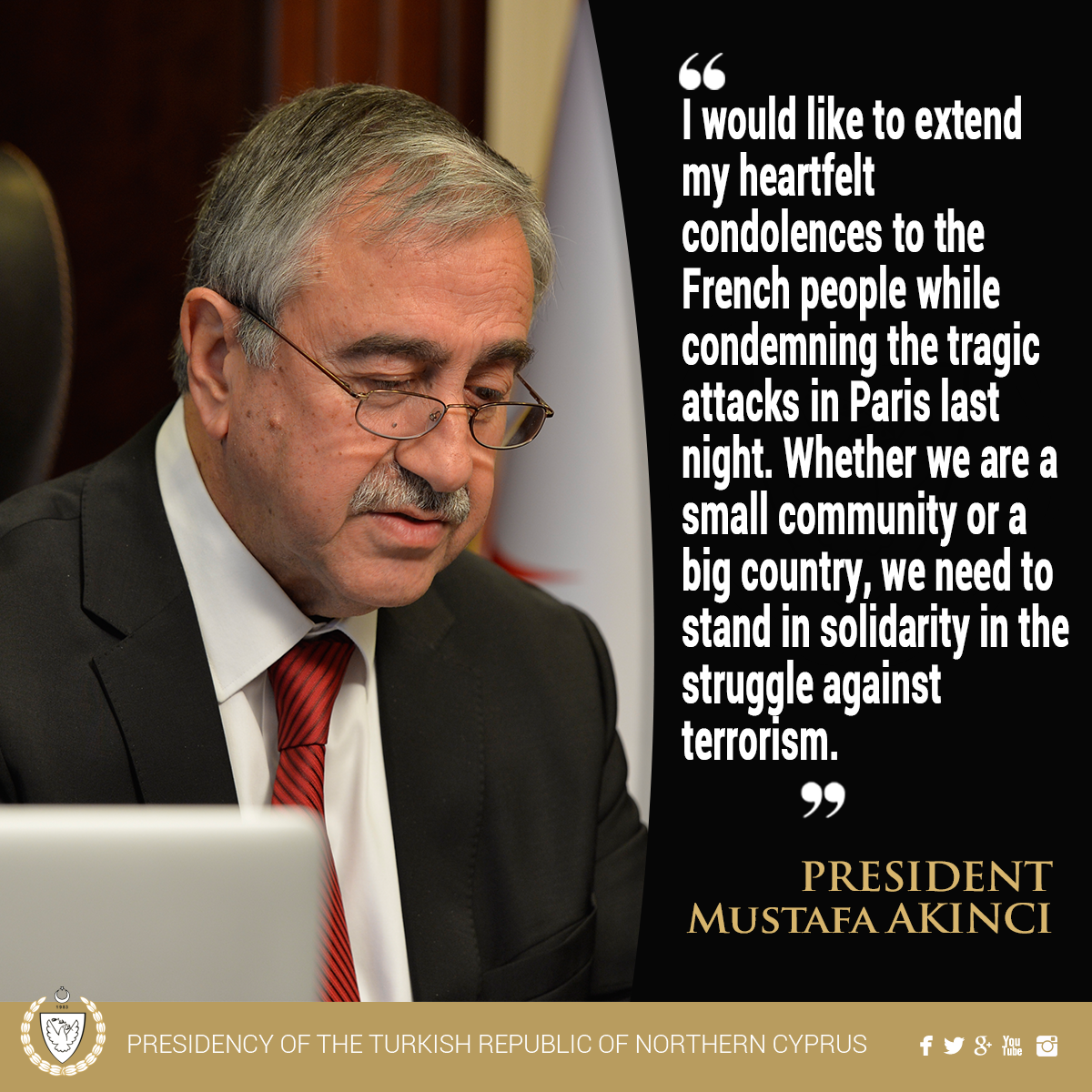 President @MustafaAkinci_1 conveyed his condolences to the French people while condemning the terrorist attacks. https://t.co/EgWRBMNtZy
