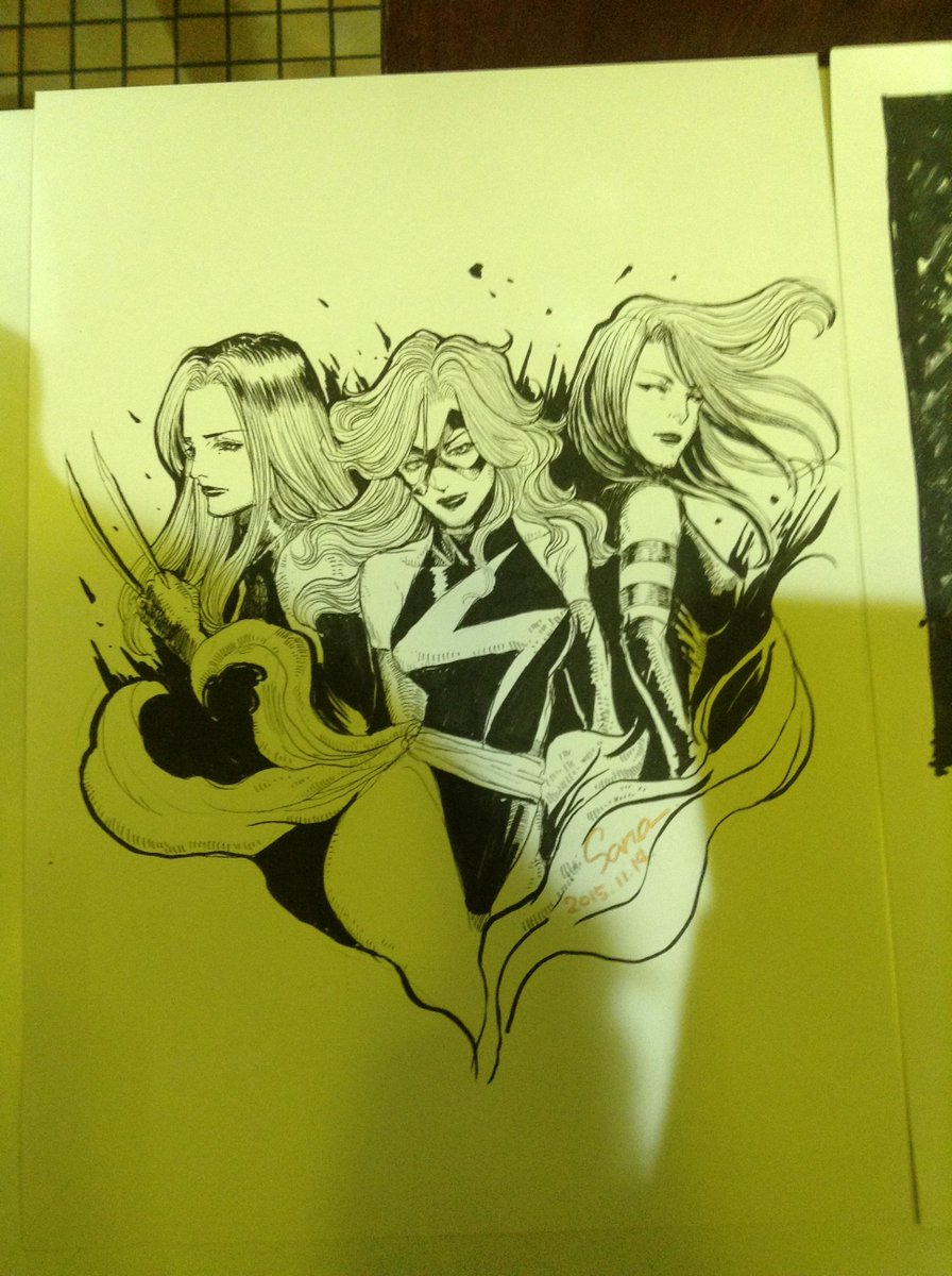 タケダ先生's Ms. Marvel, with Psylocke and X-23!