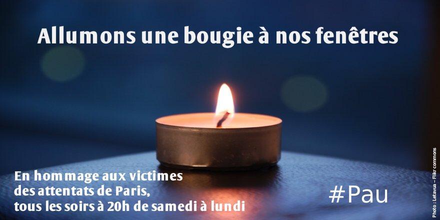 Chers palois, en hommage aux victimes, allumons une bougie chaque soir durant les 3 jours du deuil national. #Pau
