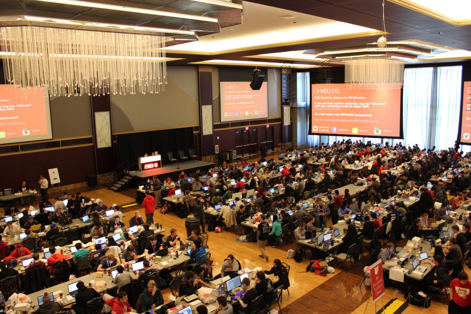 Overlooking OHI/O 2015 participants in the Grand Ballroom of the Ohio Union.