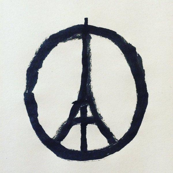 Solidaridad y compasión con #Paris La perseverancia del amor es mucho más fuerte que el terror. Imagen:@jean_jullien https://t.co/GltI144oEl