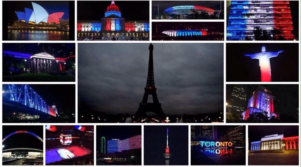 We stand united @jeannewmanglock When the city of lights goes dark the world lights up in support
