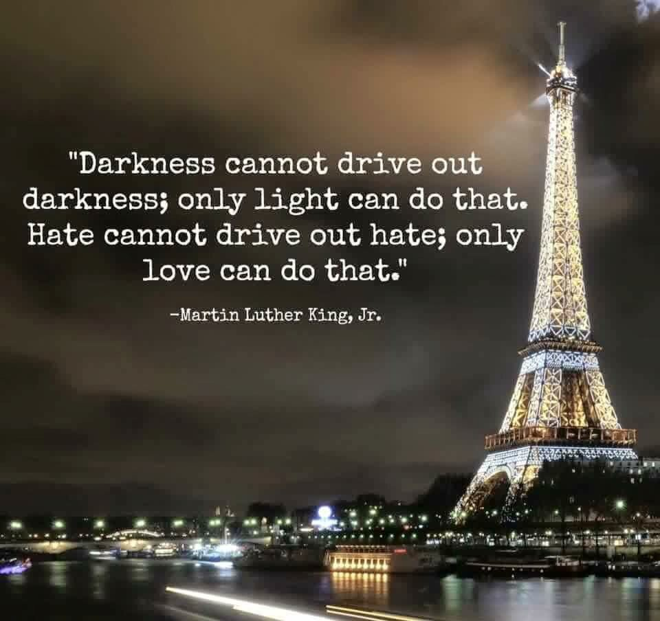 """Darkness cannot drive out darkness; only light can do that."" #ParisAttacks #StayStrongParis https://t.co/q02anrHJmD"