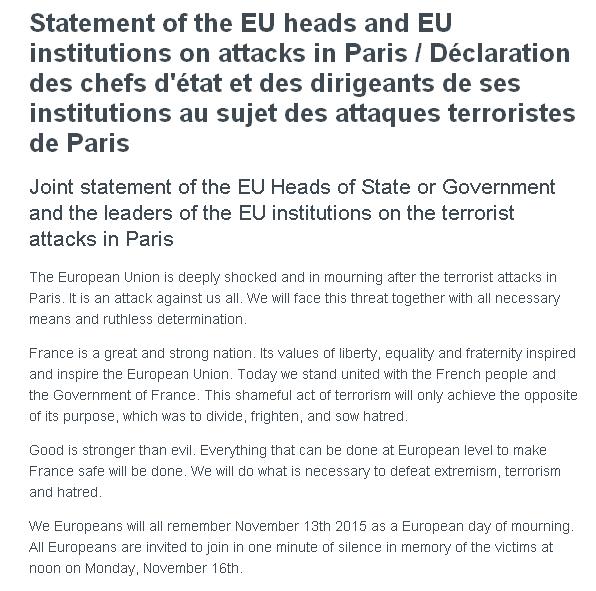 'Das Gute ist stärker als das Böse.' Die EU ruft für Montag zu einer Schweigeminute für #Paris auf.
