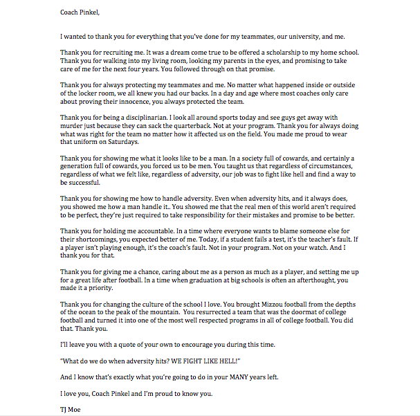 letter to garypinkel thank you coach i love you