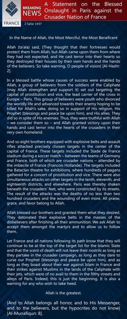 "Full ISIS statement of responsibility for #Paris mentions ""pagans,"" ""crusaders,"" & quotes Quran, verses 59:2 & 63:8: https://t.co/PsMUqdiWjq"
