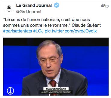 Canal+ perd la tête @MaitenaBiraben invite #Guéant pour parler des #attentats, un délinquant récemment condamné... https://t.co/jvy4lmSjDp