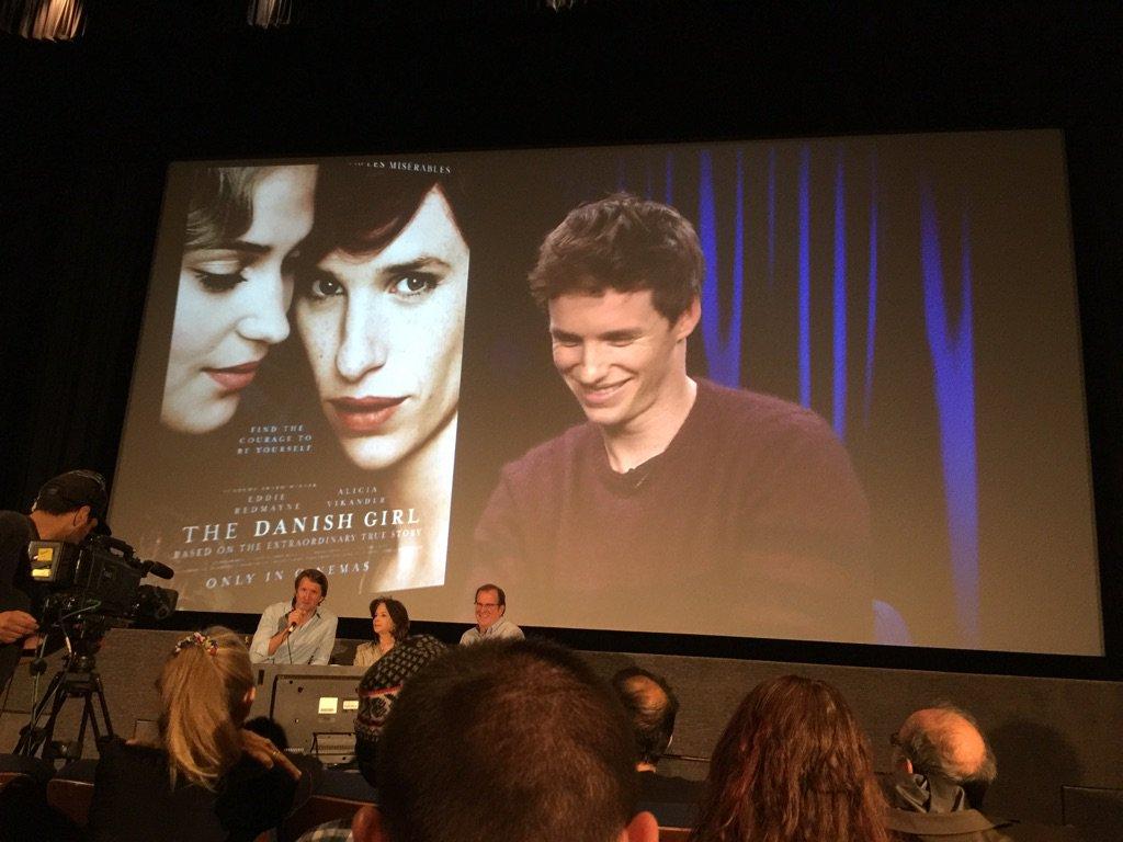 Eddie Redmayne via satellite at a screening of The Danish Girl #SureOscarNom https://t.co/qddtkzJri8