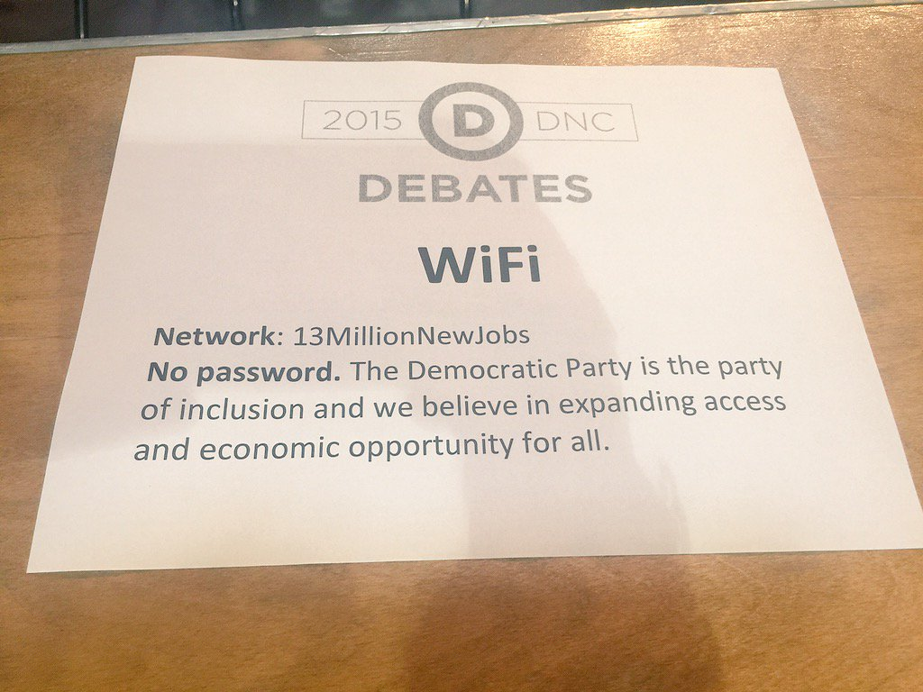 """Remember how the @GOP had reporters type """"stophillary"""" to access wifi? Here's the #DemDebate response https://t.co/kDF7q9RdHr"""