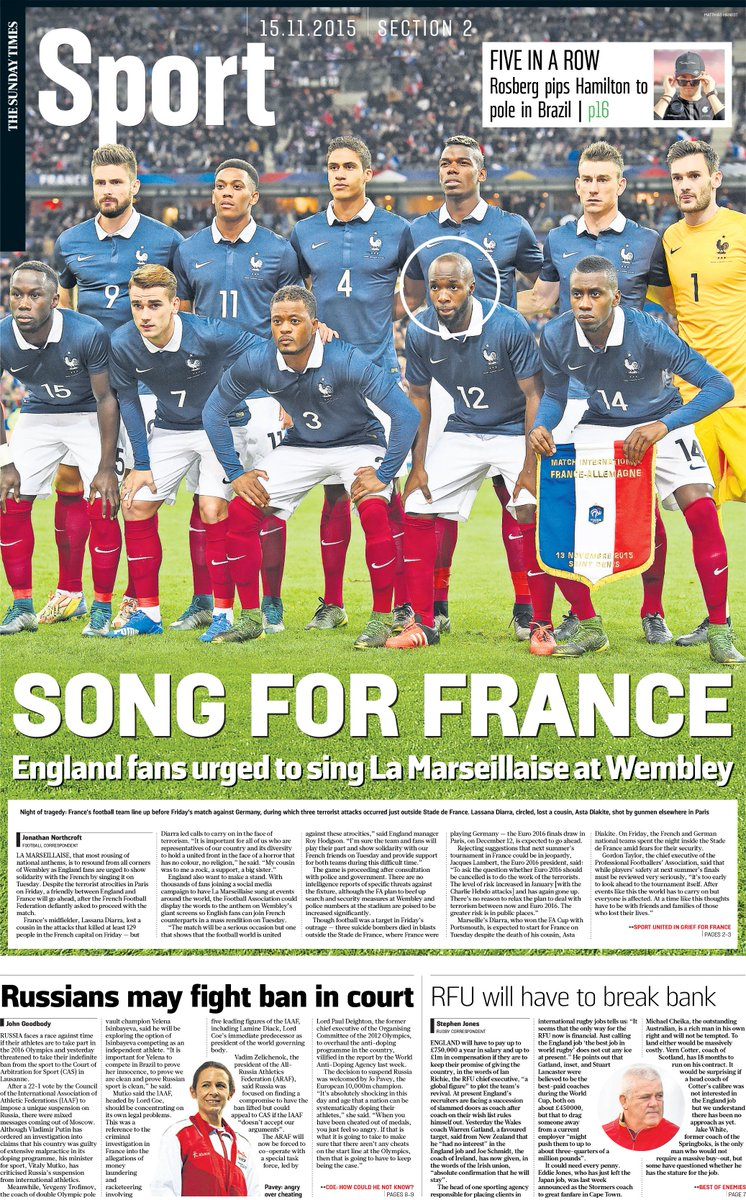 Tomorrow's front page | Song for France: England fans urged to sing La Marseillaise at Wembley https://t.co/iGkYgU1keg