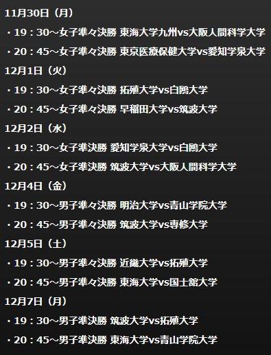 【インカレ2015録画配信(初回)】 https://t.co/jgKfPRDMLS 男子・女子準々決勝、準決勝の計12試合を下図の日程で録画配信を行います。 https://t.co/wo6XJoQoAf