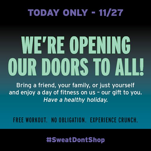 Sweat it instead of spend it – We're opening our doors to all! Come enjoy a day of fitness on us. #SweatDontShop https://t.co/WDXfq6axKL