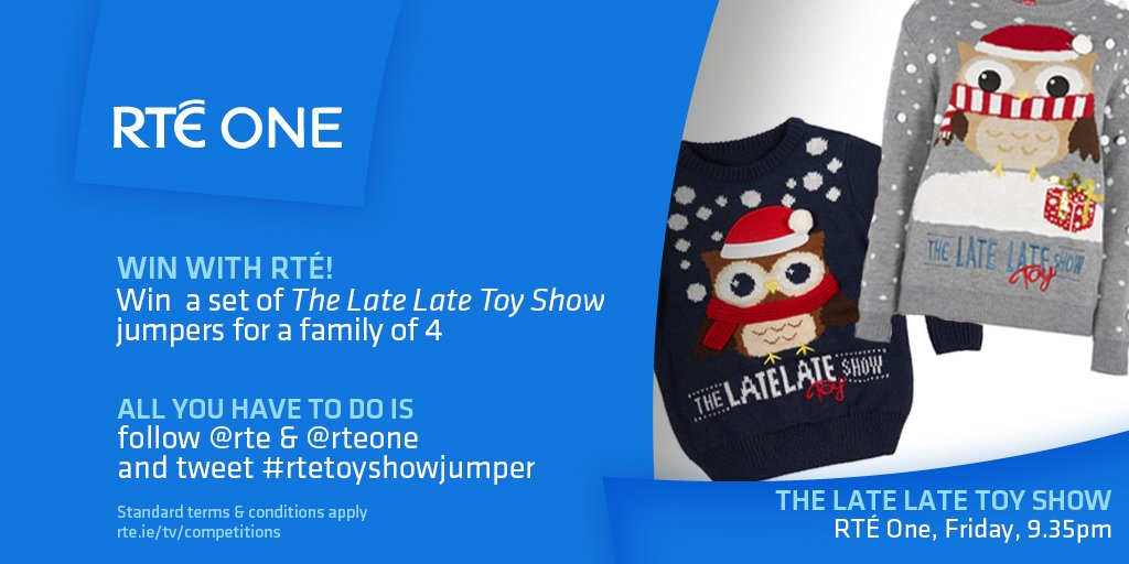 @rte: Like the jumpers?! Win a family set! #LateLateToyShow   Follow @rte and @RTEOne and tweet #rtetoyshowjumper   https://t.co/YHrqKsZhd4