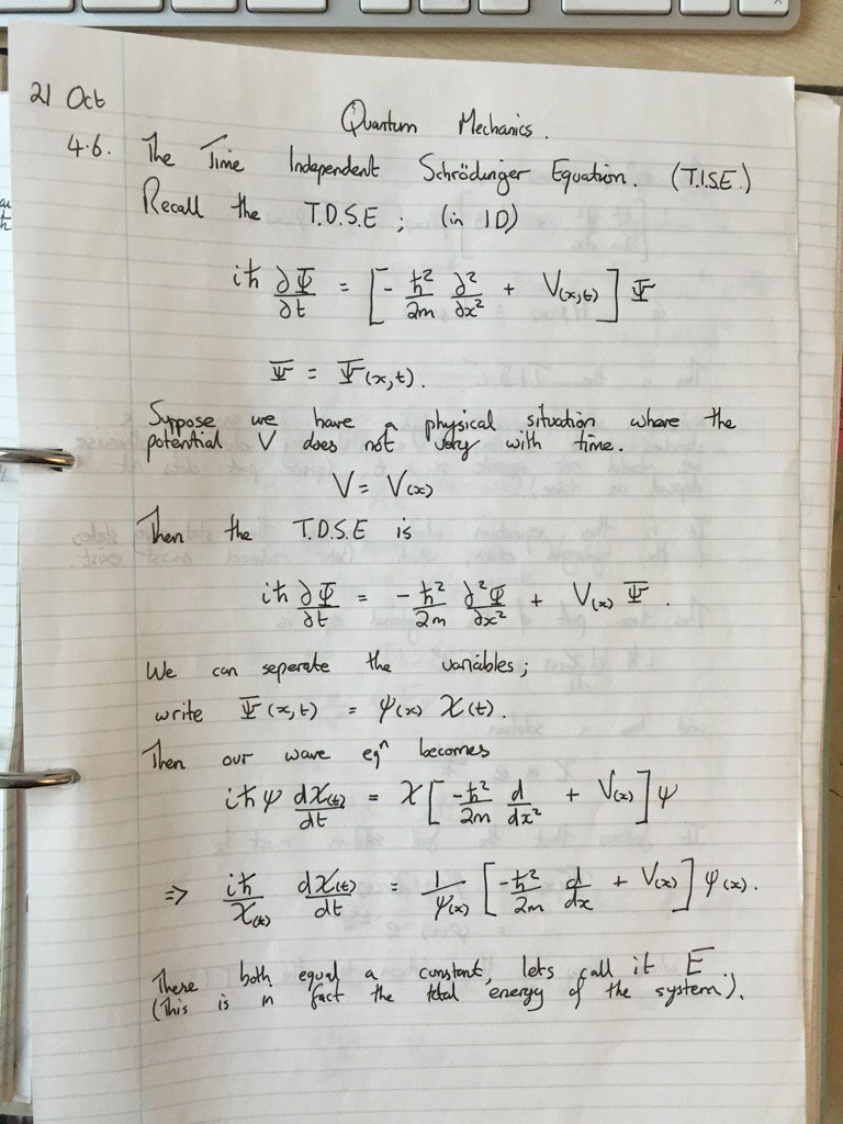 Lecturing introductory quantum mechanics today - went back to my old notes from 1993! I was very neat :-) https://t.co/C7918dLRBg