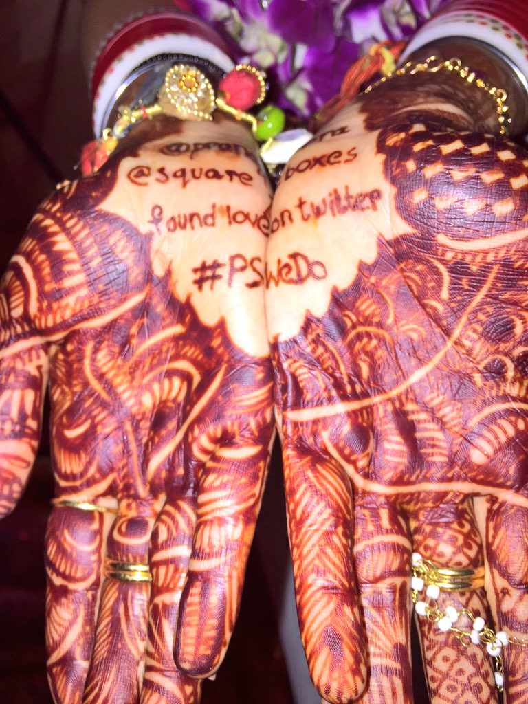 The bride's hash-tagged mehendi. @pranavsapra and @Square_Boxes found love on Twitter. #PSWeDo https://t.co/HopB21HWOW