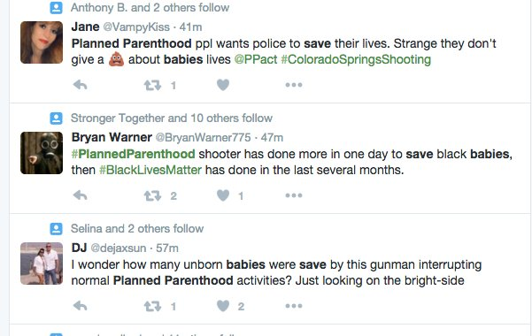 RT @Deanofcomedy: Here are just a few of conservatives cheering for the #PlannedParenthood shooter https://t.co/TlKlfoMSFi