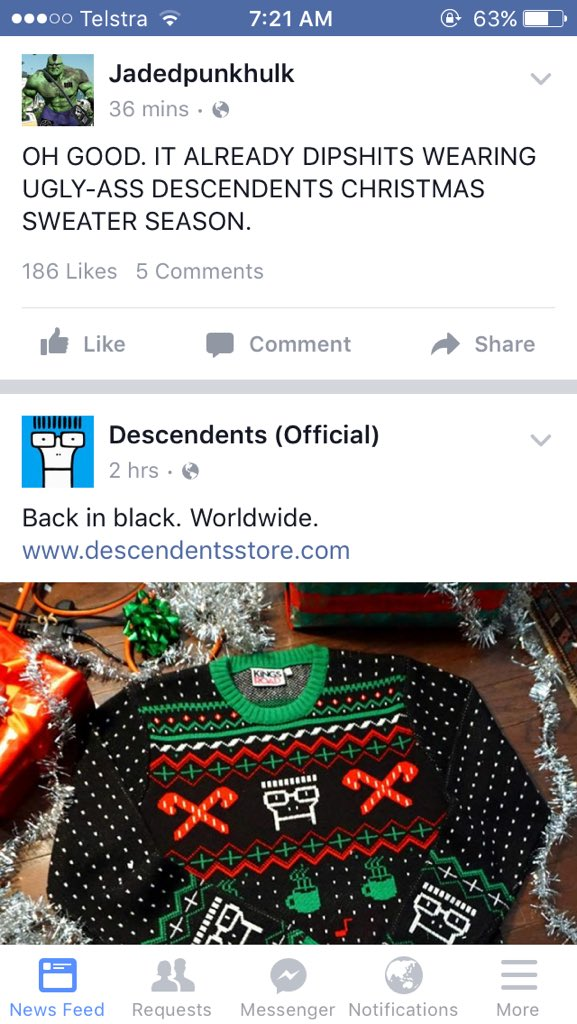 0 replies 0 retweets 0 likes - Descendents Christmas Sweater