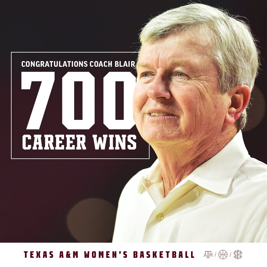 Congratulations to @CoachGaryBlair on reaching an incredible 700 career wins! #12thMan https://t.co/iIqzrRckKo