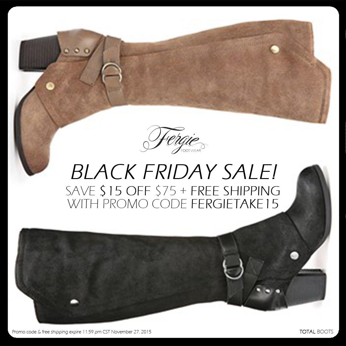RT @FergieFootwear: Shop @Fergie's #BlackFriday #ShoeSale:$15 OFF $75 + #FreeShipping w/ #promocode FERGIETAKE15!https://t.co/9Lc6GOZcHR ht…