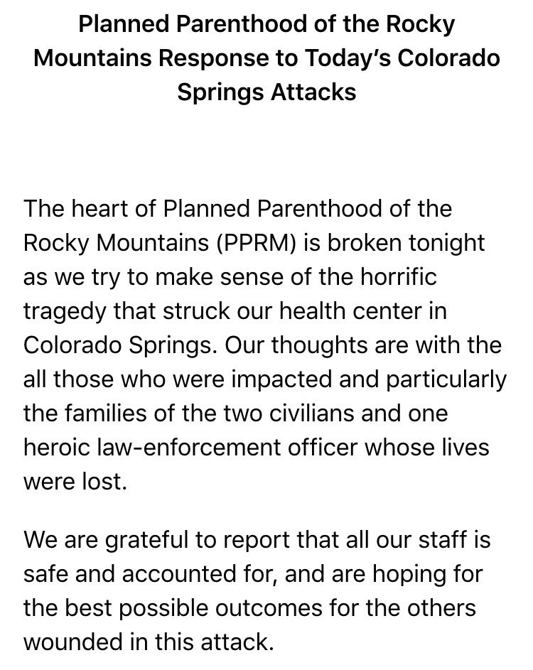 The civilians killed in #ColoradoSprings were not Planned Parenthood employees, per @PPRockyMountain. #9News https://t.co/ORvJ9IEjcK
