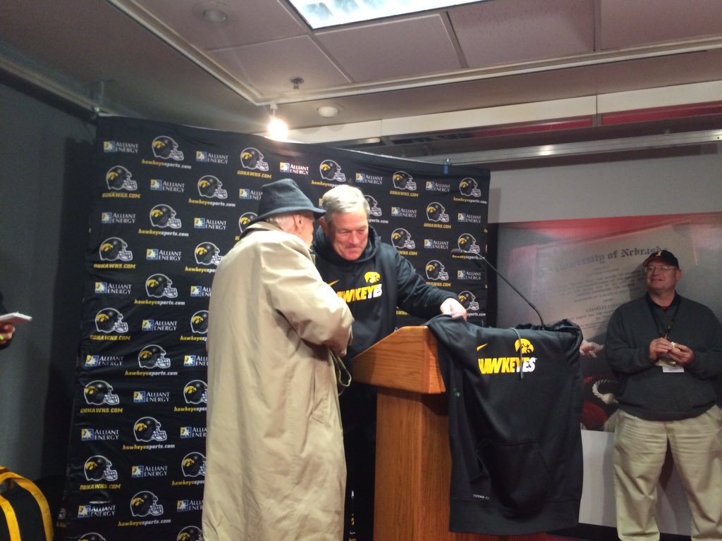 Kirk Ferentz sharing moment with Bob Brooks before speaking with media in Lincoln https://t.co/5MKgqFoheM