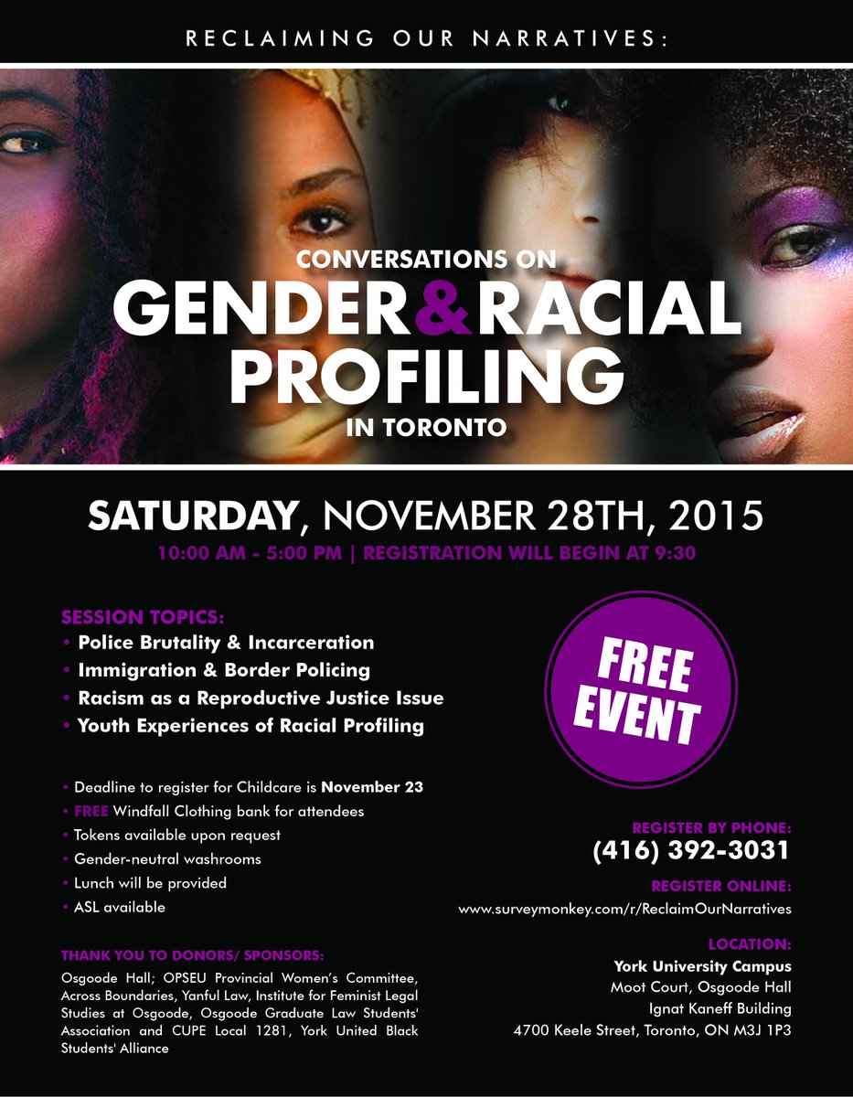 See you tomorrow at #RONTO15 @OsgoodeNews Gender and Racial Profiling in Toronto! https://t.co/bMKf5cH4rH